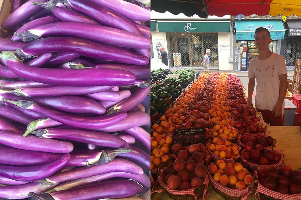 Plaisirs gourmands - Etal de fruits et longues aubergines