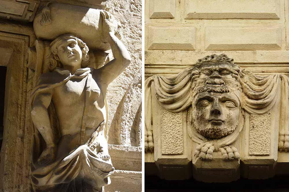 Atlante et tête sculptée encadrant des portails d'hôtels particuliers