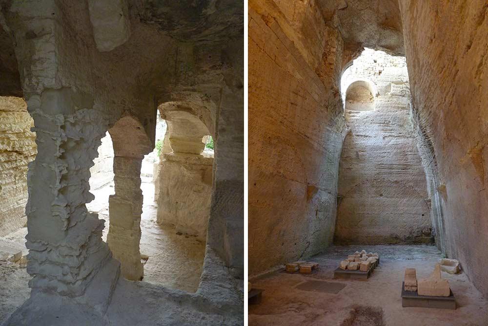 Chapelle et chambres creusées dans le calcaire