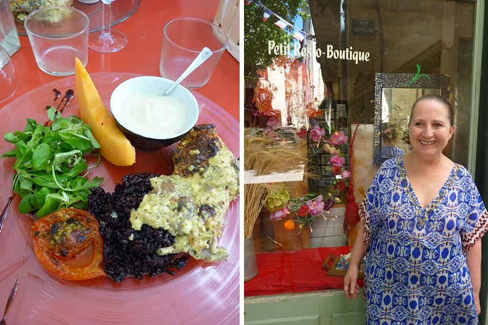 A l'Epicerie, Christine Niet et Lapin avec riz noir à la crème de chou-fleur au chèvre et au miel