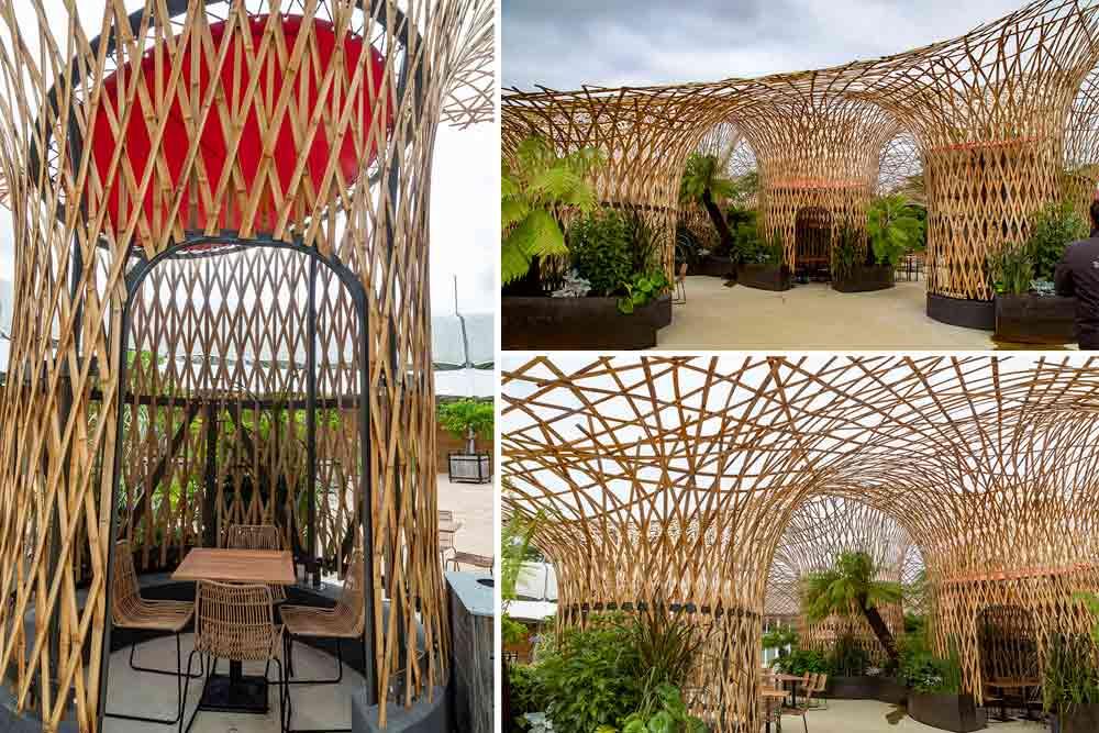 La superficie de l'Oasis est de 600 m2. Elle a nécessité 7 tonnes de bambous.