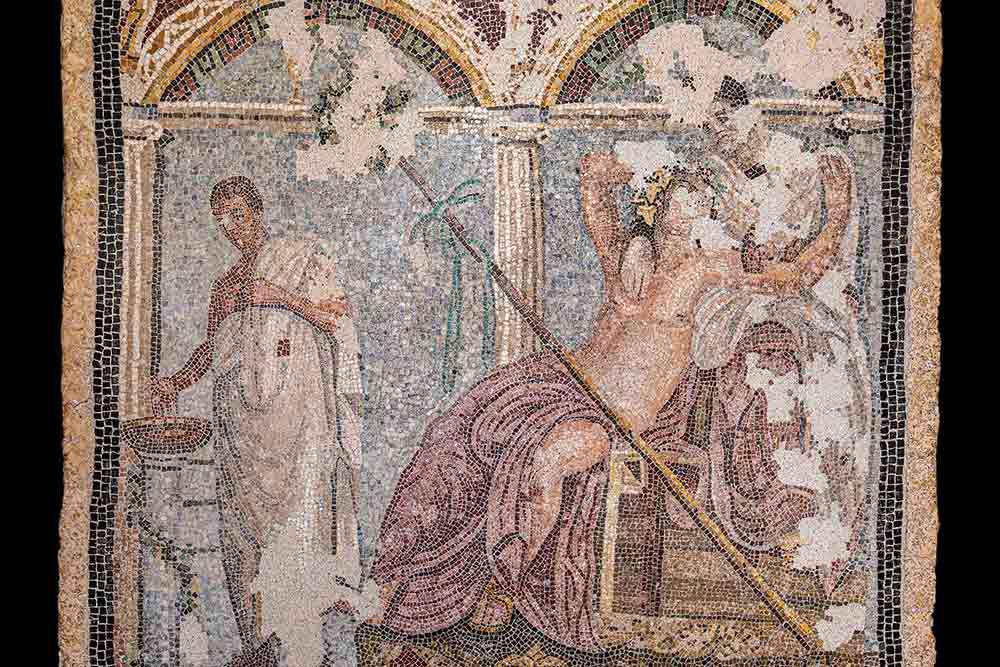 Dionysos et Ariane, mosaÏque 45x45 cm, fontaine rue du Vésuve,Parco archeologico di Pompei.