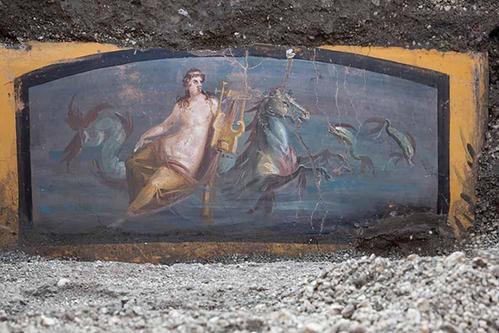 Fresque: Néréide sur un cheval, comptoir d'un thermopolium
