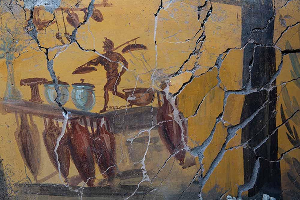 Fresque avec amphores sur le comptoir d'un thermopolium (bar).