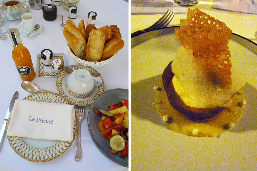 Prieuré Beaumanière - Le petit déjeuner servi à table et le dessert nommé Citron