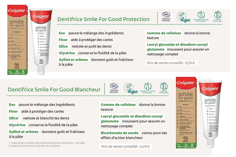 Colgate Smile for Good Protection et Colgate Smile for Good Blancheur