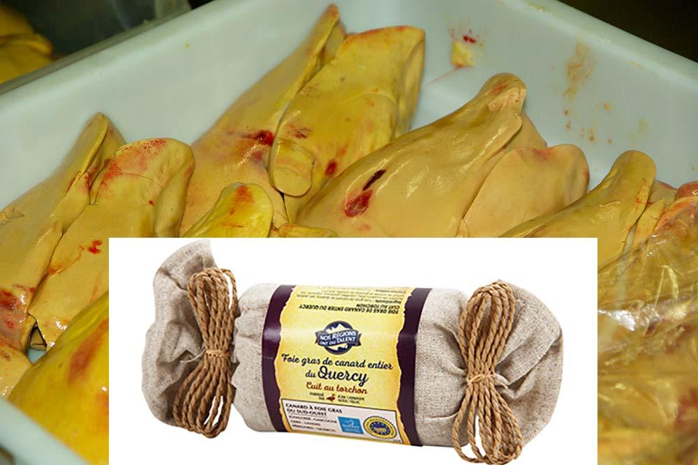 Foie gras de canard entier du Quercycuit au torchon IGP