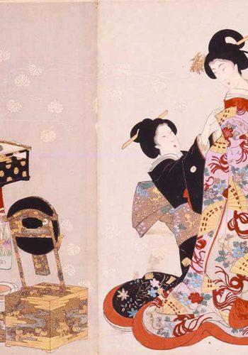 Le gynécée de Chiyoda par Yôshû Chikanobu: le changement d'habits (détail)