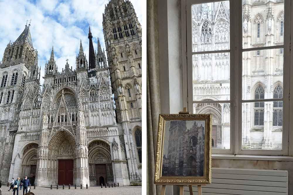 La cathédrale et, à droite, le chevalet de Claude Monet dans son atelier, juste en face du monument (1er étage de l'Office du Tourisme)