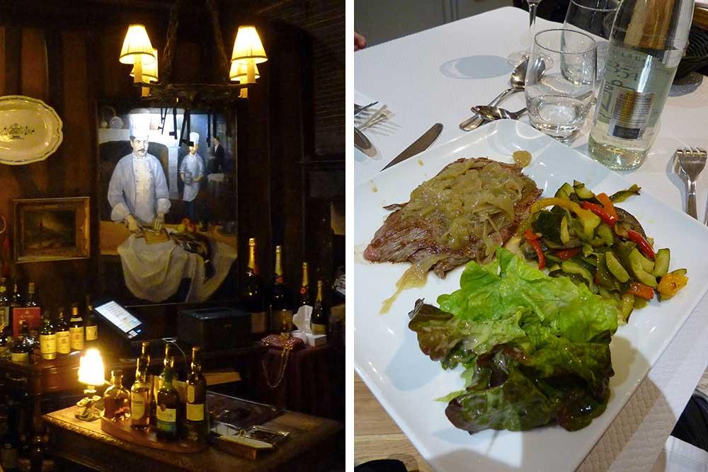 La Couronne le soir et, à droite, bavette aux échalotes (Brasserie Paul)