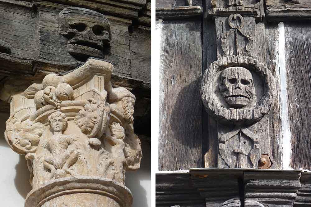 Un chapiteau et détail de sculptures