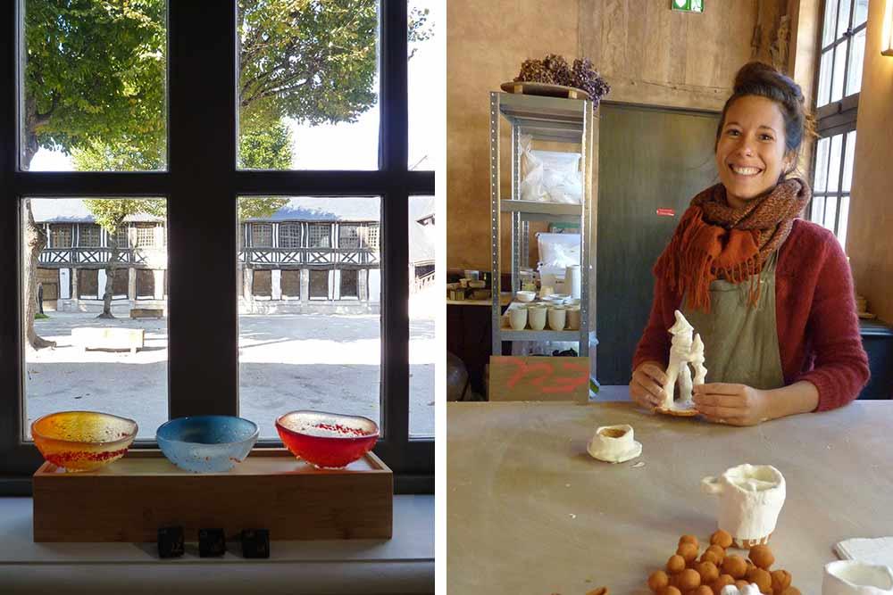 Rouen - Verreries et, à droite, la céramiste Anaïs Dupont