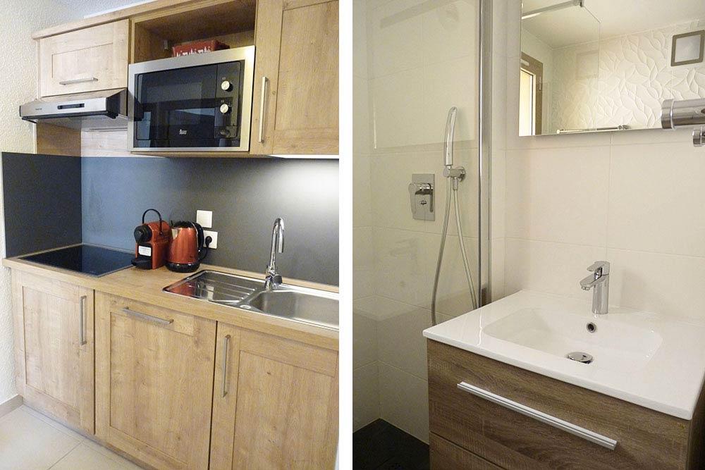 La cuisine et la salle de bain, esthétiques et fonctionnelles