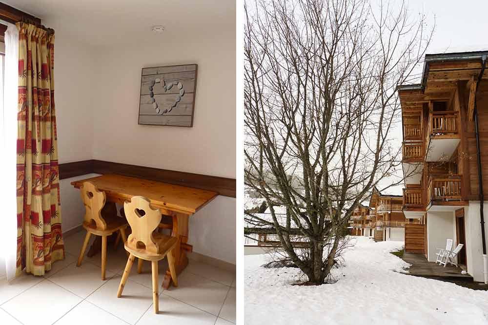 Le coin salle à manger du studio et à droite, vue extérieure de la Belle au Bois