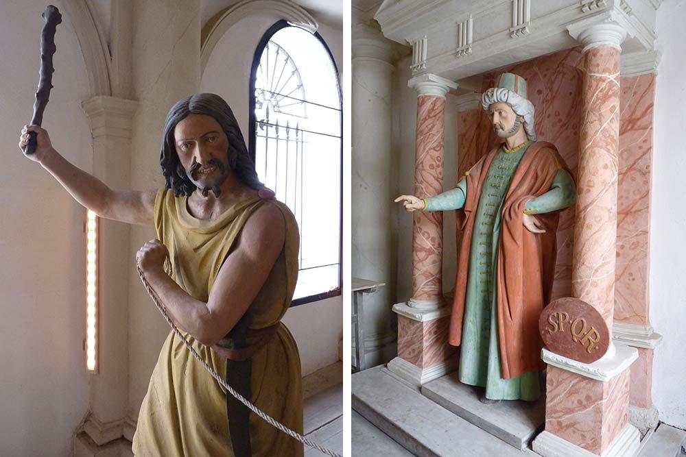 Un des bourreaux et, à droite, Ponce Pilate