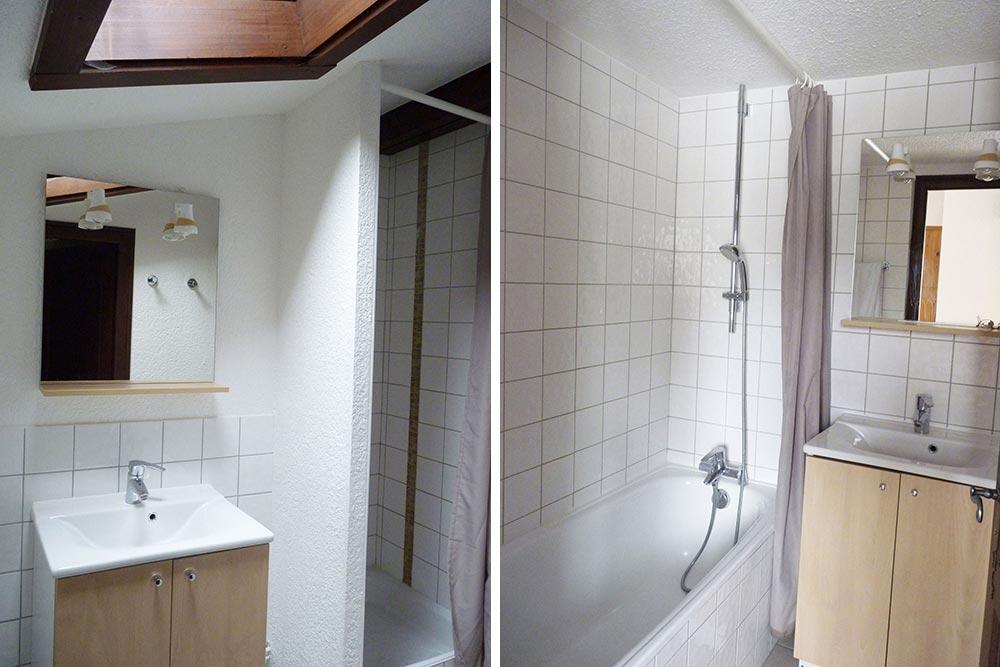 Les deux salles de bain avec baignoire ou douche (pour les enfants) du duplex Cosy
