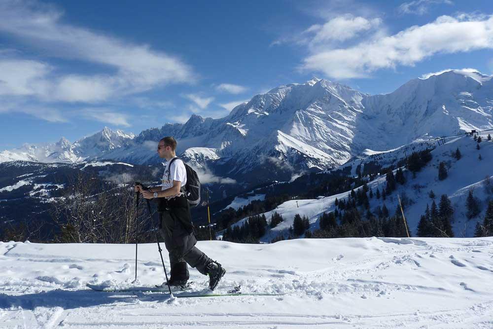 Sommet du Mont d'Arbois. Ski de randonnée accompagné par Oxygène.