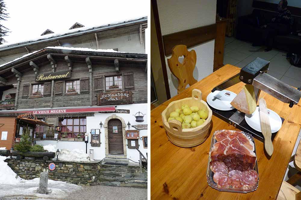 Le restaurant du Vieux Mégève et, à droite, raclette en click and collect, avec appareil traditionnel