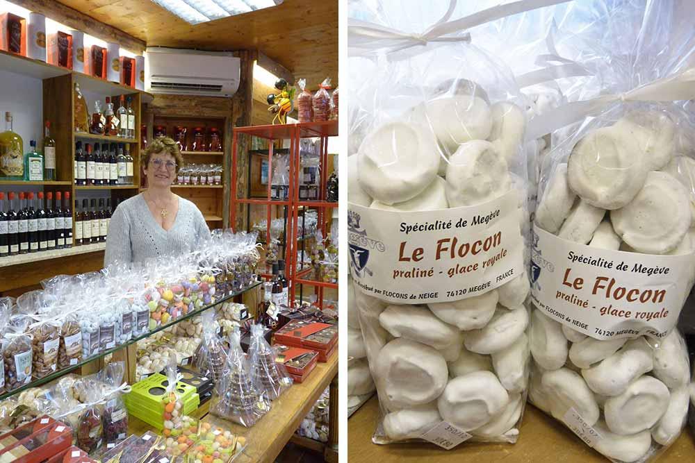 Françoise Rey-Cénevaz dans sa confiserie et paquets de flocons.