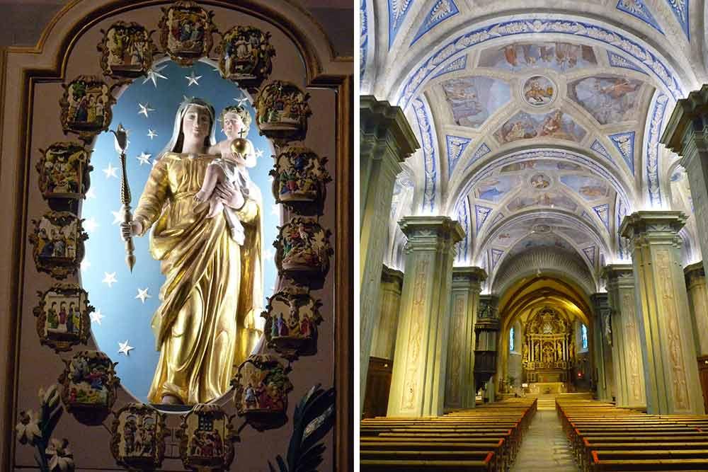 Eglise Saint-Jean-Baptiste. La nef et l'autel du Rosaire dédié à la Vierge