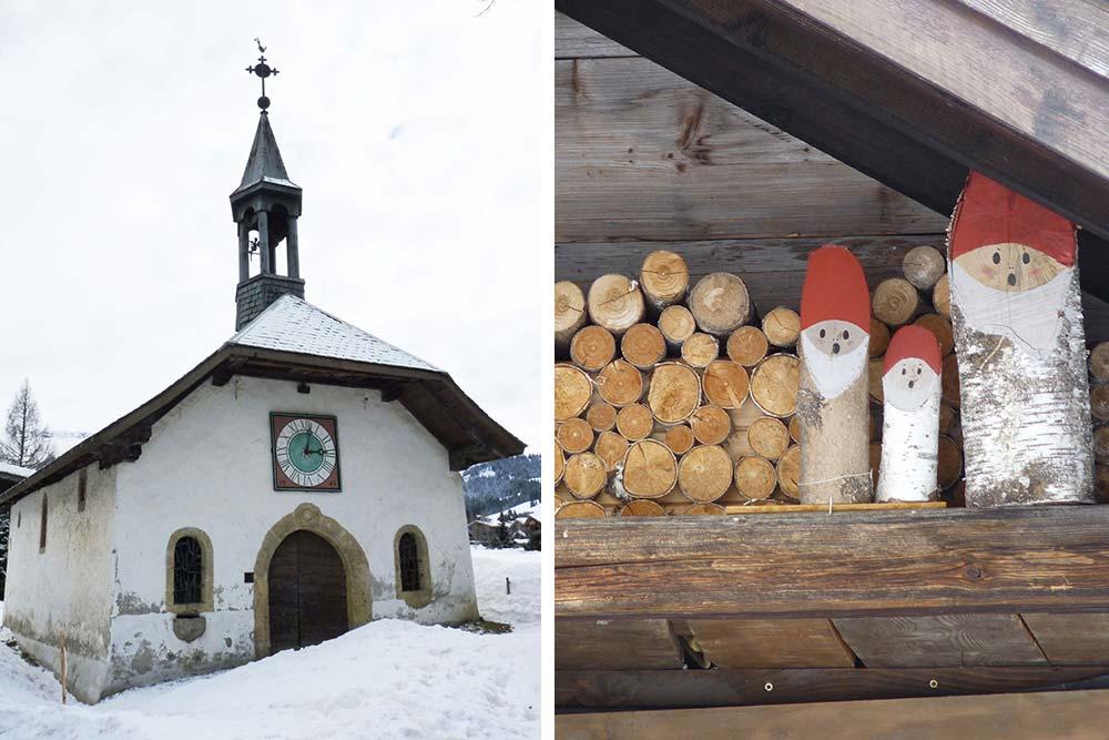 Eglise du hameau du Maz et décoration de chalet, dans les hauteurs de Megève
