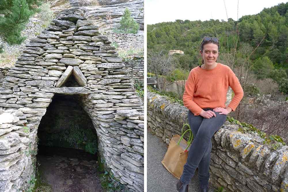 Borie et, à droite, notre guide Michèle Dumon