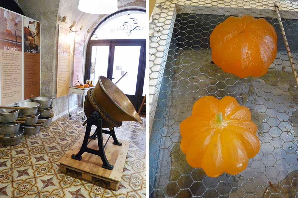 Machine et fruits confits présentés dans le petit musée