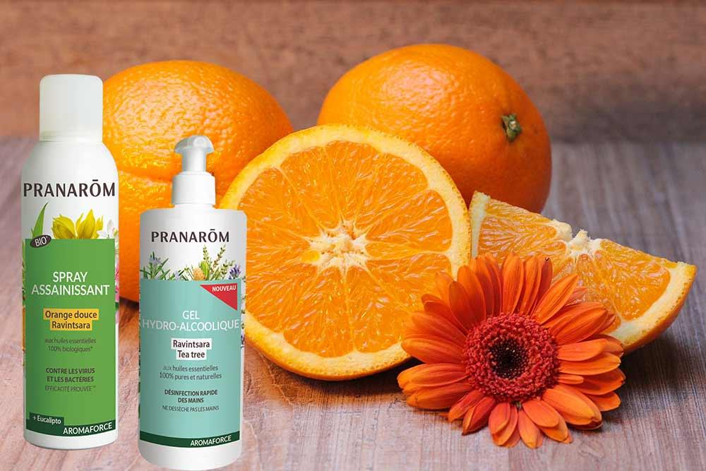 Spray et gel pour les mains aux huiles essentielles