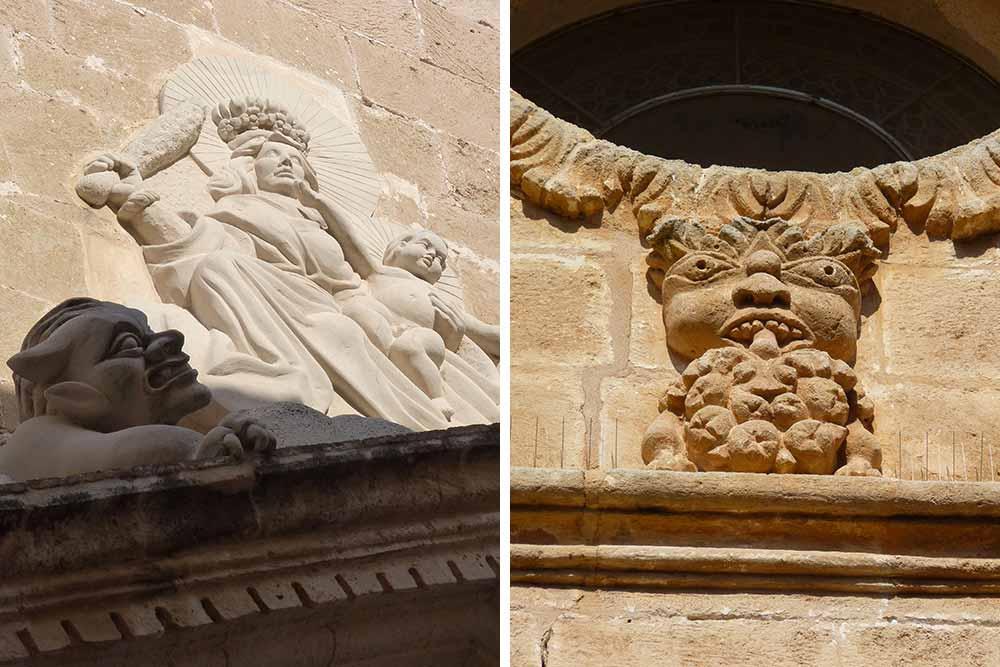 Sculptures ornant les façades