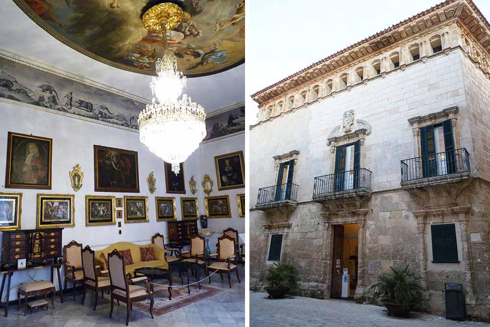 Minorque - Casa Saura Miret, le salon et la façade