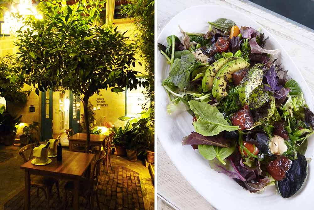 Patio du Jardi de ses Bruixes et, à droite, la salade santé du restaurant The View