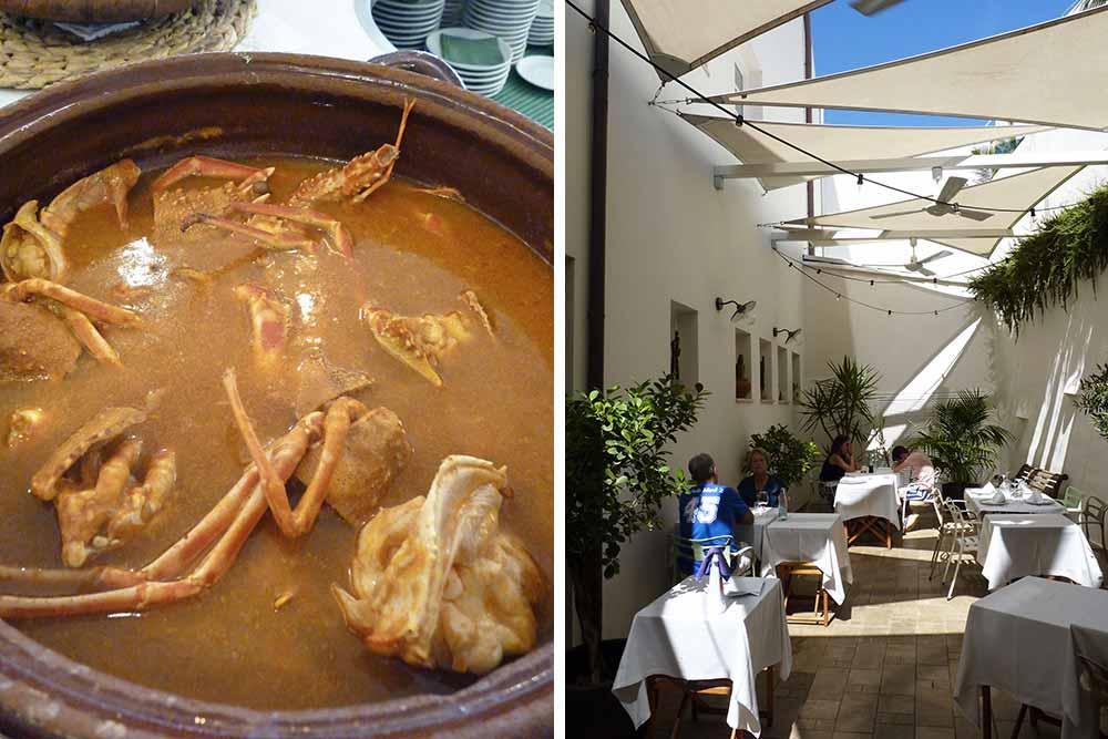 Le café Balear avec, à gauche, un ragout de fruits de mer