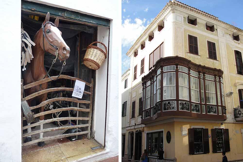 La plus vieille boutique de Mahon (1815) et sa drôle de devanture ©Valérie Collet. A droite, immeuble avec bow window