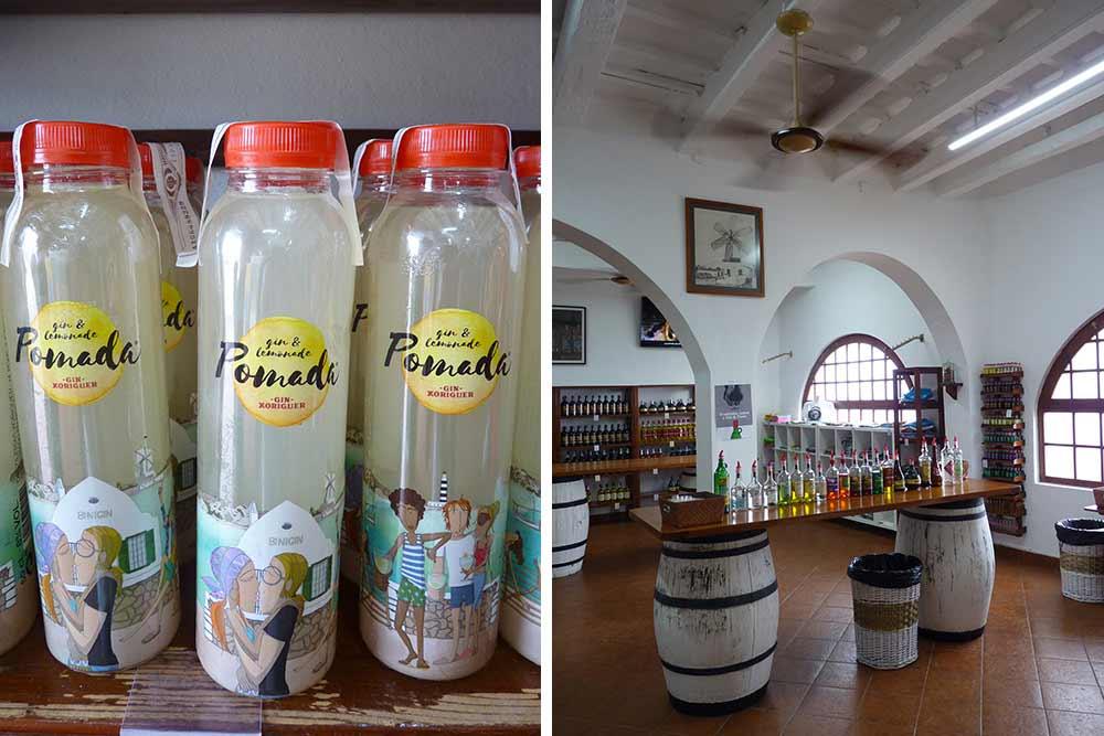 Bouteilles de Pomada et à droite, l'intérieur de la distillerie
