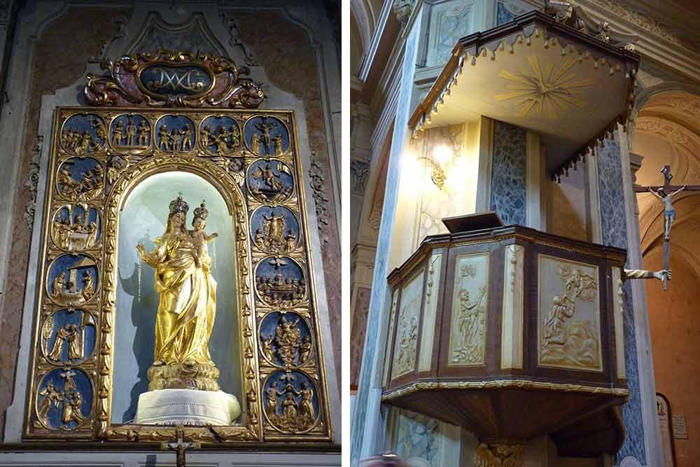 Le retable de la Vierge (XVIIe s) et la chaire avec son fameux bras tenant un crucifix