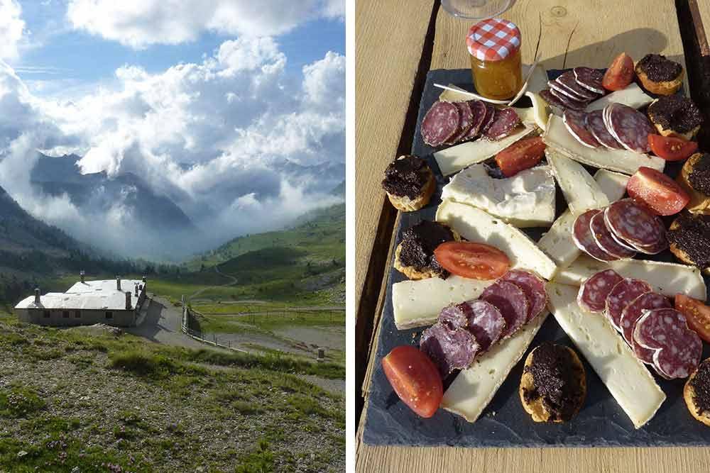 Vue depuis la buvette du col de la Lombarde et planche de fromages et charcuteries locales