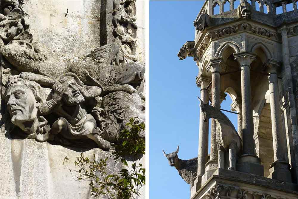 Détail de façade avec Prosper Mérimée, (à gauche) et Emile Boeswillwald, le très soucieux restaurateur de l'édifice (XIXe siècle). A droite, les fameux boeufs sculptés