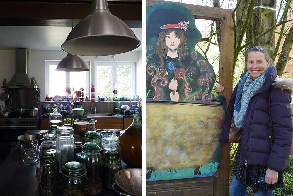 L'atelier et à droite, Hélène Vatin devant une sorcière et son chaudron