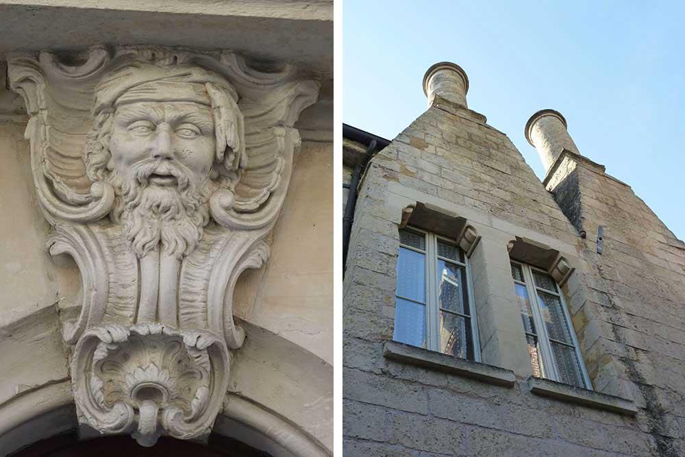 Ornement de porte et façades à pignon