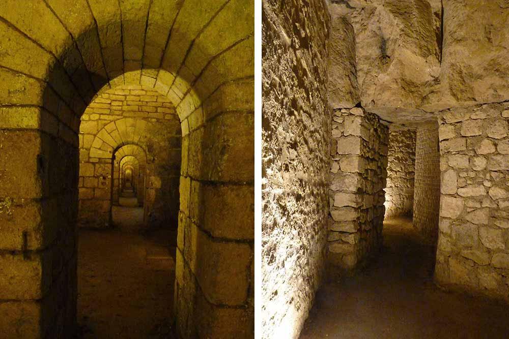 Galeries creusées dans le calcaire