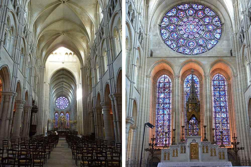 Nef et vitraux du XIVe siècle (cathédrale de Laon)