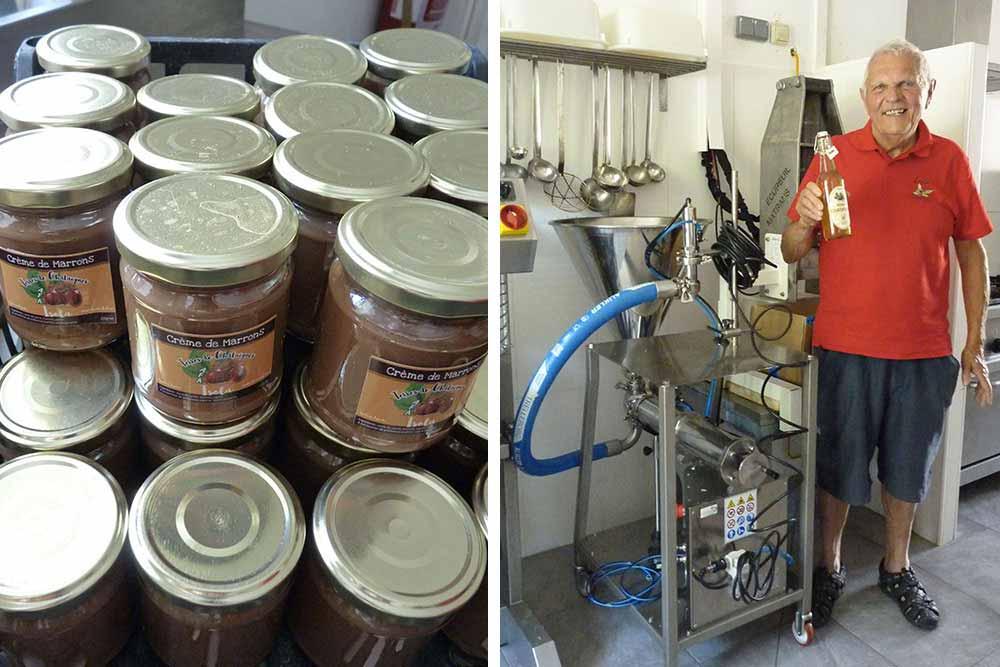 A la Maison de la châtaigne: pots de crème de marron et Raymond Gibert, liqueur à la main