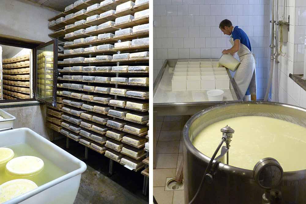 Fabrication et affinage du fromage à la Vacherie