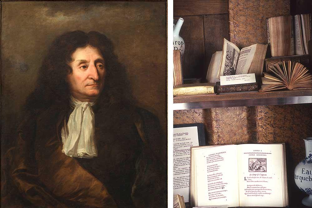 Quelque éditions des Fables, dont la celle de 1668.(ph.J.P.Gilson)
