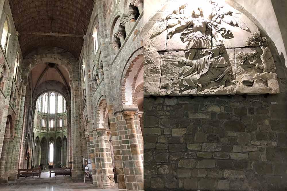 Le coeur de l'abbaye et une des nombreuses sculptures sur ses murs.