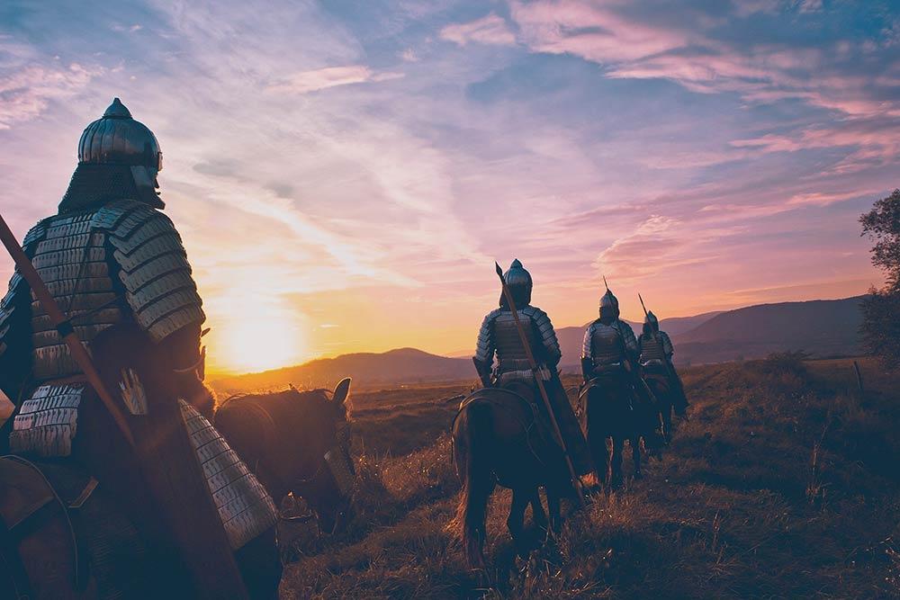 Les chevaliers partent en guerre