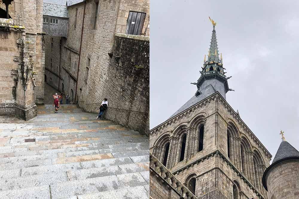 Escalier qui monte vers l'abbaye et la flèche en or qui trône sur le clocher
