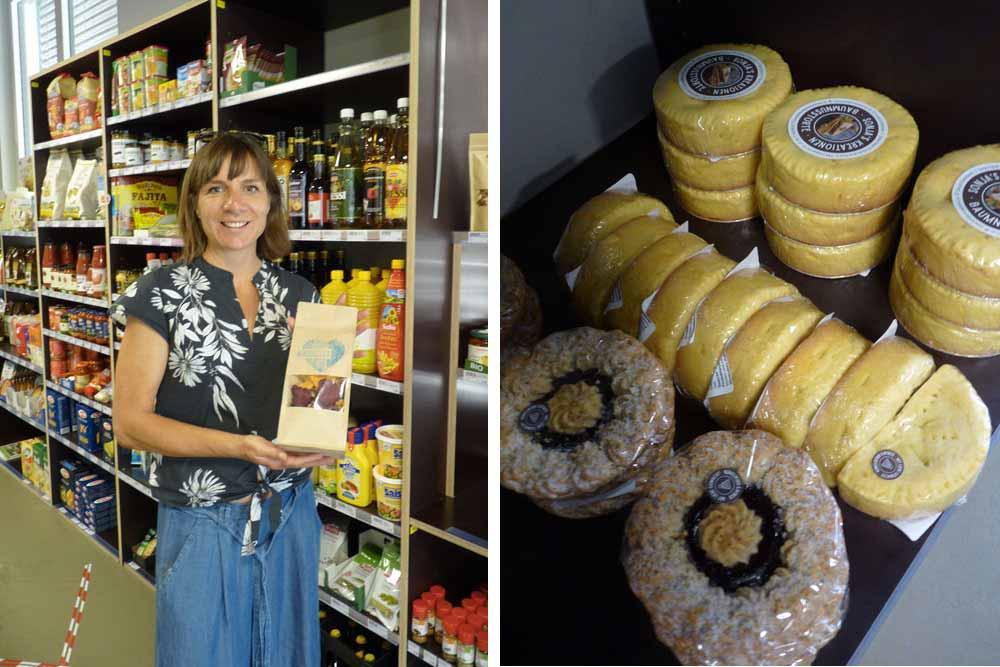 Ann dans sa boutique Dorfladen Cie et à droite, gâteaux typiques de la région de Berne