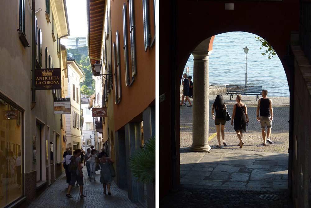 Suisse - Ruelle et porche donnant sur la promenade (Ascona)