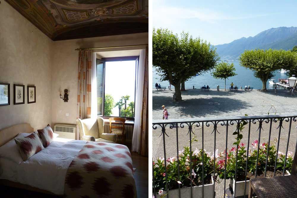 Chambre du Romantik Hotel Castello Seeschloss. A droite: vue depuis la chambre de l'Albergo Carcani